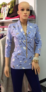 A whimsical print complements the construction on this Missy Maude jacket