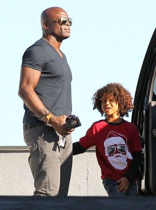 Seal's son wearing Wes and Willy